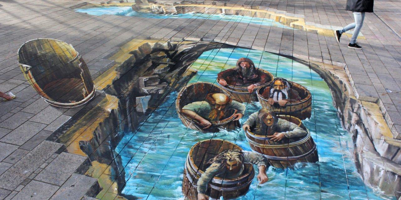 3D-Streetart aus den Hobbit-Filmen