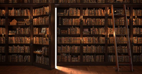 Secret door in the bookcase. Mysterious library with candle lighting. With vintage stuff. - Image: bptu (Adobe Stock 103620070)