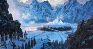 """He Beheld a Vision of Gondolin Amid the Snow"" by Ted Nasmith https://www.tednasmith.com/tolkien/he-beheld-a-vision-of-gondolin-amid-the-snow/"