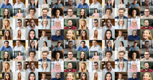 Video conference concept. Banner, screensaver, collage with a lot of diverse people, multiracial colleagues brainstorming on the distance, a lot of people different generation and nation. Hr database AdobeStock: 425025153 (Вадим Пастух)