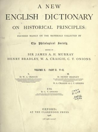 Oxford English Dictionary Vol X Part II V-Z
