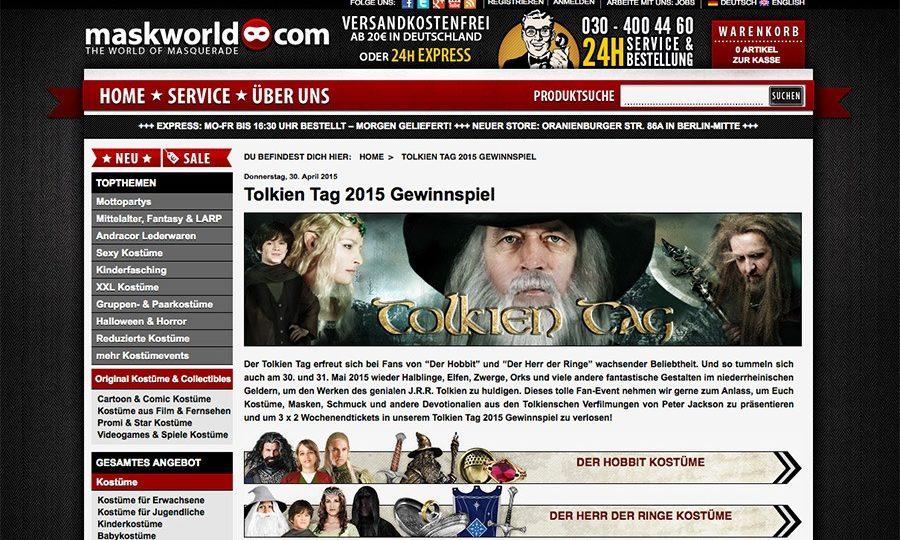 Erneute Kooperation mit Maskworld zum Tolkien Tag