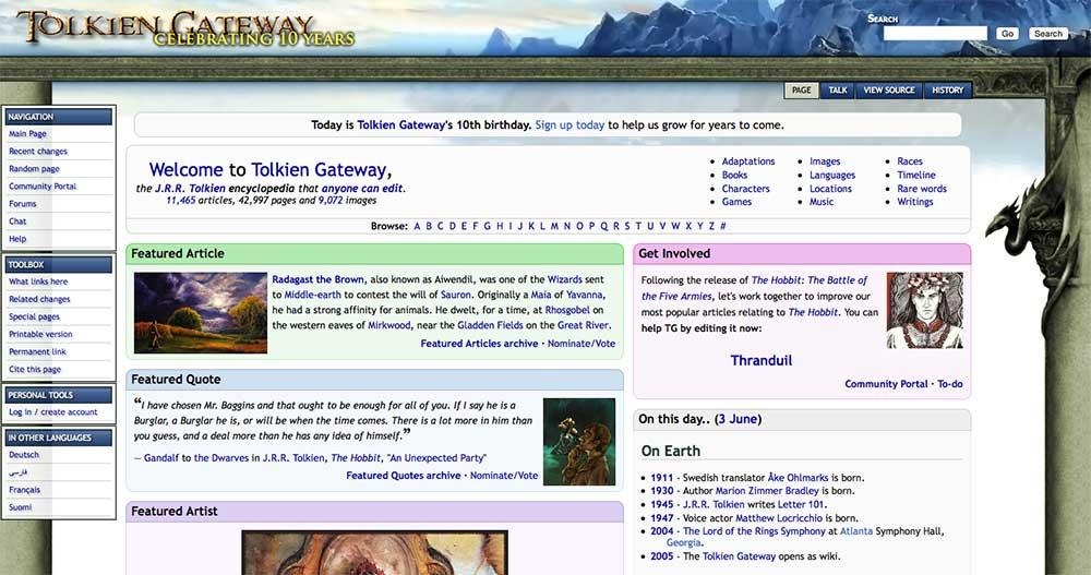 Tolkien Gateway feiert runden Geburtstag.